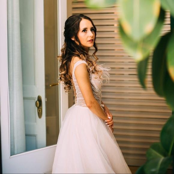 Dresses Champagne Boho Chic Modern Wedding Dress Size Xs Poshmark